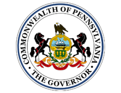 PA Governor logo circle with two black horses, bald eagle and  ship