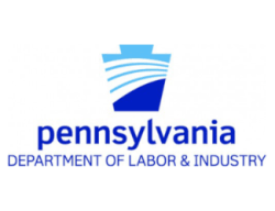 Blue keystone symbol with snake and Pennsylvania Department of Health text