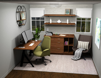 Photo of home office including an office Desk, chair, cabinet, shelves