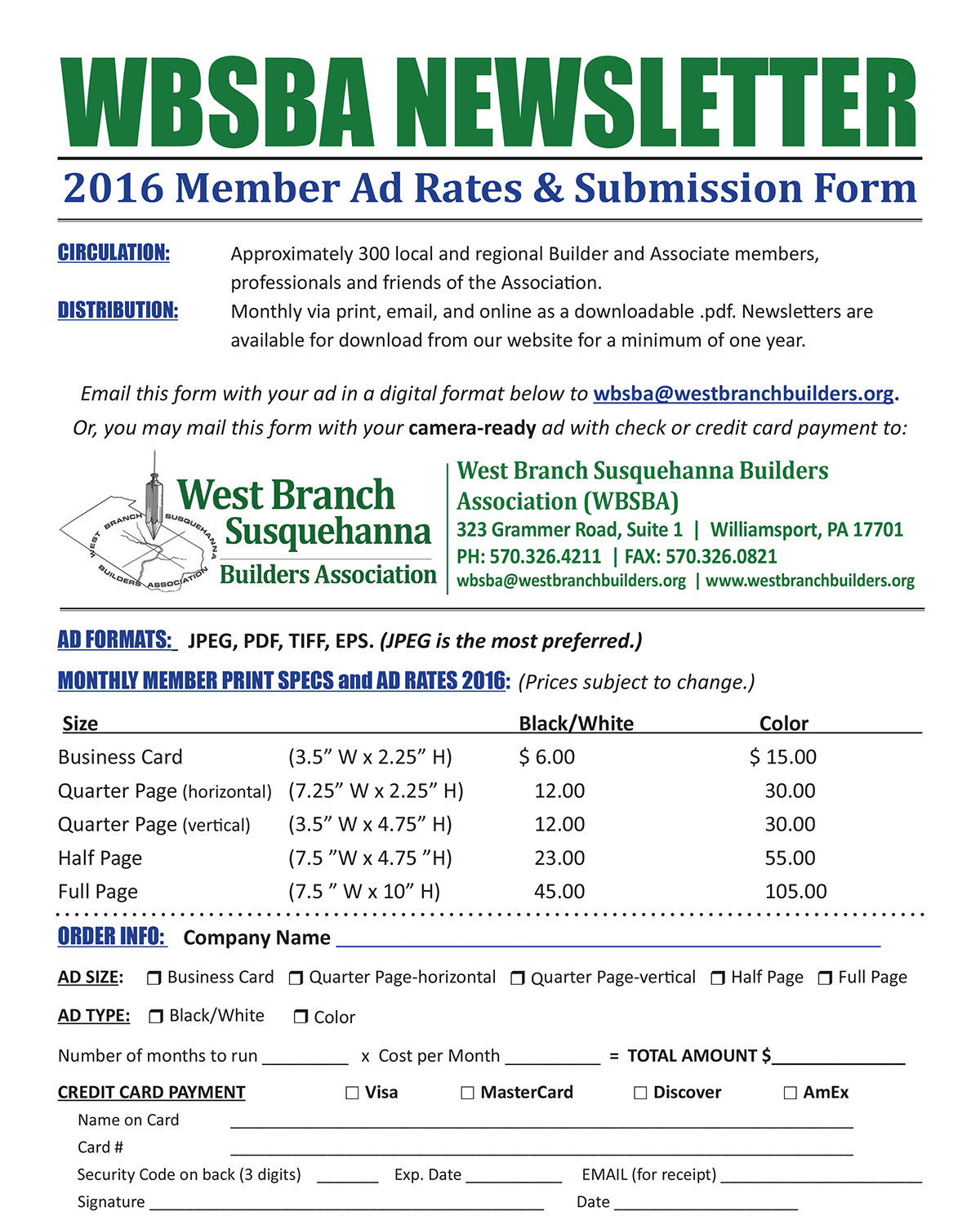 WBSBA Newsletter Advertising Rates 2016