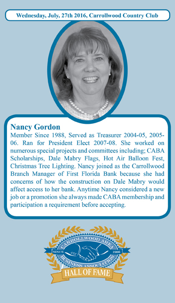 Nancy Gordon Hall of Fame