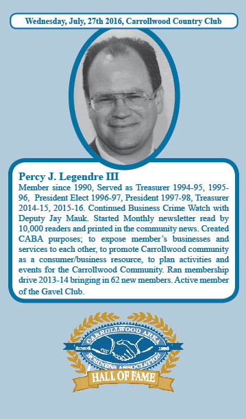 Percy Legendre Hall of Fame