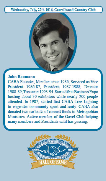 John Baumann Hall of Fame