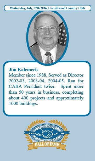 Jim Kalemeris Hall of Fame