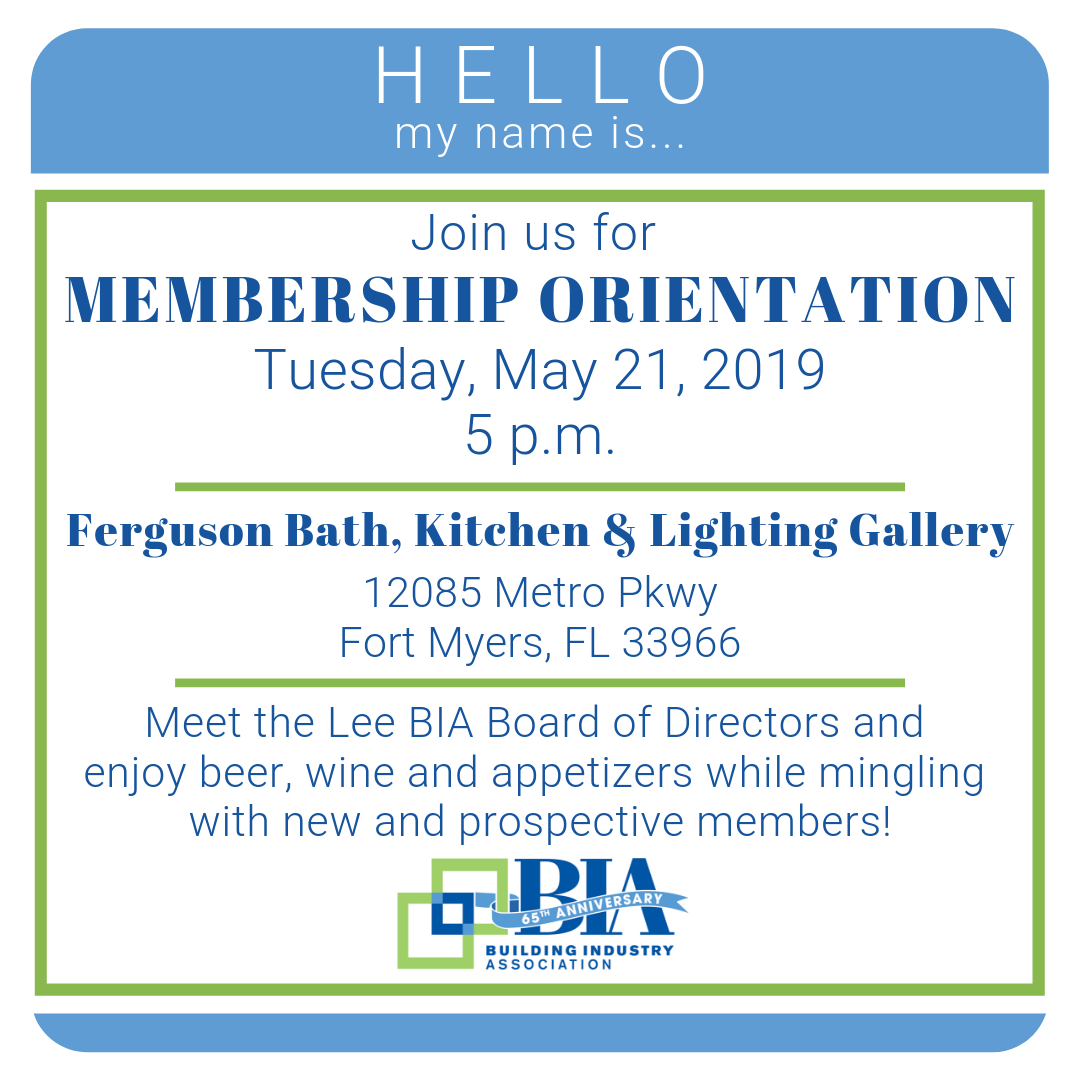 May Membership Orientation May 21 2019 Lee Building Industry