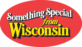 Red circular logo with Something Special from Wisconsin in center