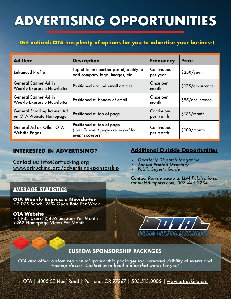 Digital Printed and Annual Advertising Package Opportunities for Oregon Trucking Associations