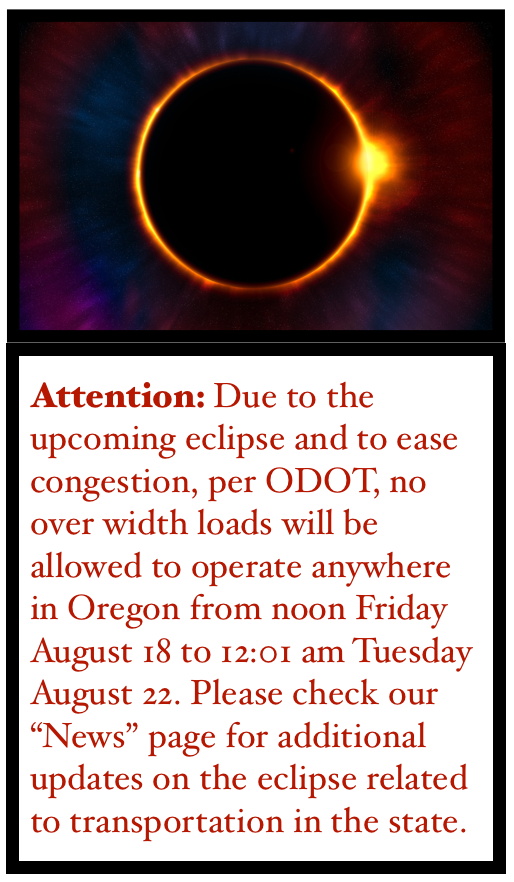 2017 Eclipse Over Width Load Restrictions Permits