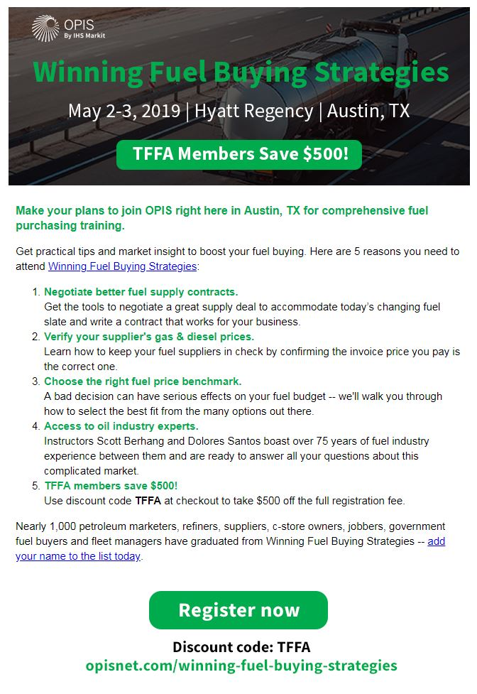 $500 Saving for TFFA Members who attend Winning Fuel Buying