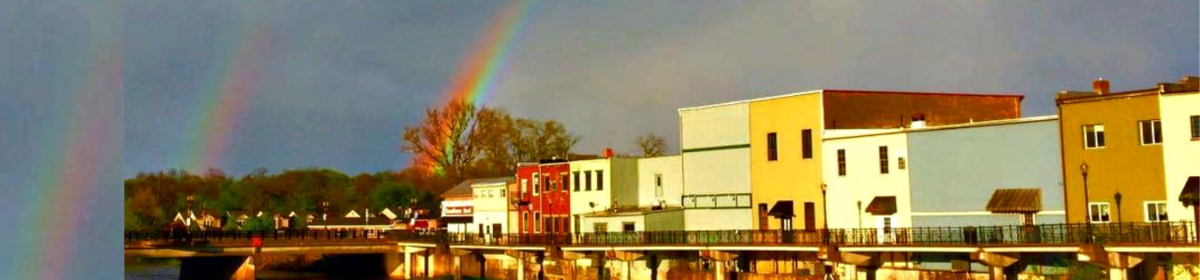 Portland MI Michigan Downtown.March. Rainbow. Boardwalk