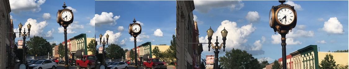 Portland MI Michigan Downtown.Summer.Clock