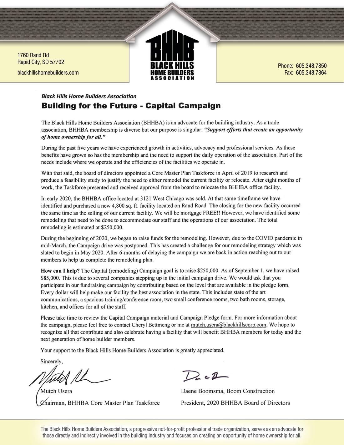 BHHBA Capital Campaign Letter