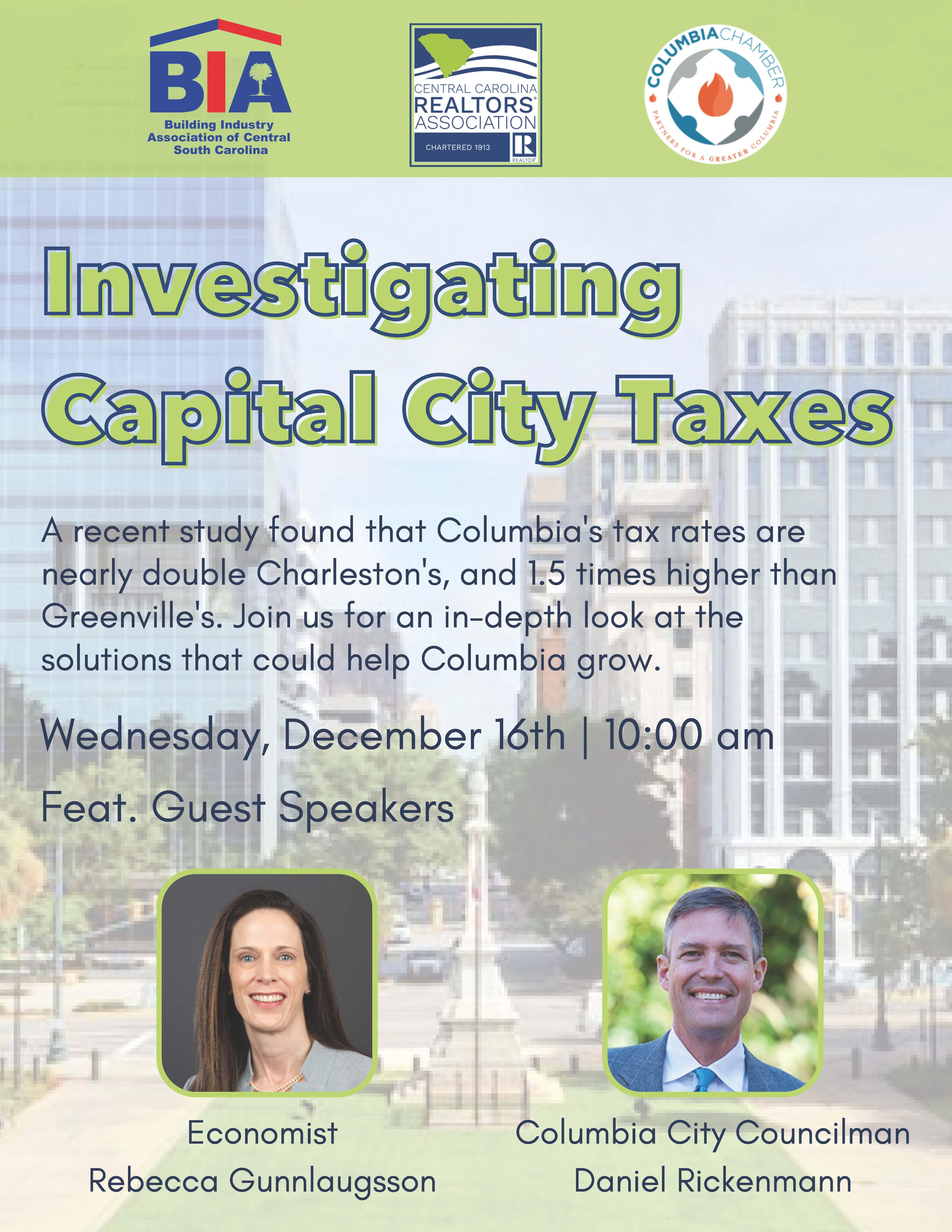 Columbia City Tax Webinar flyer
